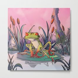 tentacle frog and life in pink ! Metal Print