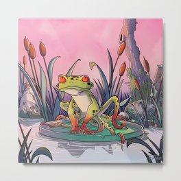 tentacle frog and life in pink ! Metal Print