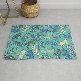 Rhino Patchwork Pattern - emerald & blue Rug