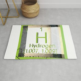 Hydrogen. Element of the periodic table of the Mendeleev system. Rug