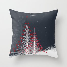 Christmas trees on the snow Throw Pillow