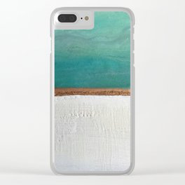 Northern Lights (teal)  Encaustic Painting Clear iPhone Case