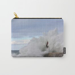 Stormy wave over old lighthouse and pier of Viavelez in Asturias, Spain. Carry-All Pouch