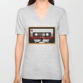 The cassette tape cat Unisex V-Neck