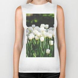 White Tulips Biker Tank