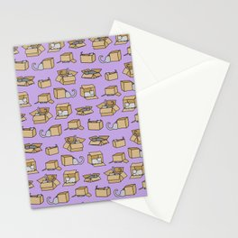 Cats in Cardboard Boxes, on Lavender Stationery Cards