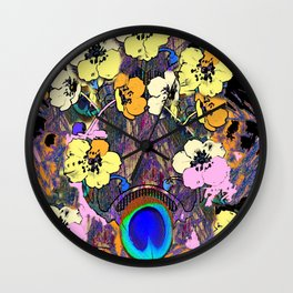 Decorative Modern Art Nouveau Peacock Floral Patterns Wall Clock