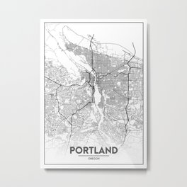 Minimal City Maps - Map Of Portland, Oregon, United States Metal Print