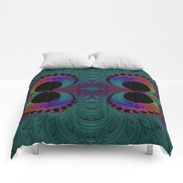 Peacock Feathers Eyes Fractal Abstract Comforters