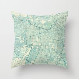 Santiago Map Blue Vintage Throw Pillow