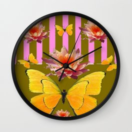 PINK WATER LILIES STRIPED BUTTERFLY PATTERNED ART Wall Clock