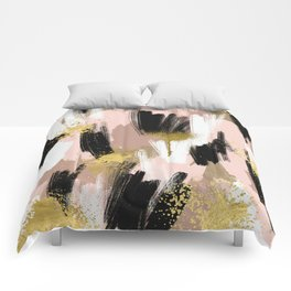 Blush and Gold Abstract Comforters