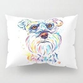 Schnauzer Watercolor Pet Portrait Painting Pillow Sham
