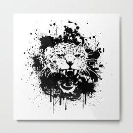Roaring leopard Metal Print