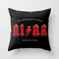 acdc Throw Pillows featuring For those about to walk by Quique Ollervides
