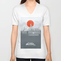 legend of korra V-neck T-shirts featuring Avatar The Legend of Korra Poster by Fabio Castro