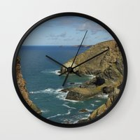 agnes cecile Wall Clocks featuring Cornish Seascape St Agnes  by Cornish Seascapes