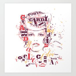 Typographic image Claudia Cardinale once upon a time in the west color Art Print