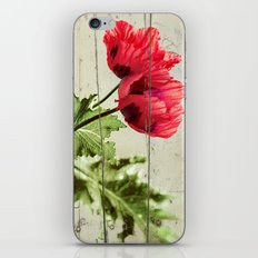 The Things We Remember - red poppy photo on wood texture iPhone & iPod Skin