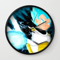 vegeta Wall Clocks featuring SSGSS Vegeta by AmaterasuVG