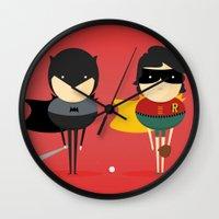 super heroes Wall Clocks featuring Heroes & super friends! by Juliana Rojas | Puchu