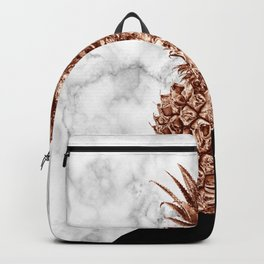 Rose gold pineapple white marble & black color block  Backpack