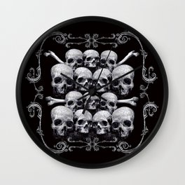 Skulls and Filigree - Black and White Wall Clock