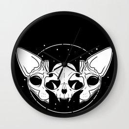 Sphynx Cat and Its Skull - dark art - black and white Wall Clock