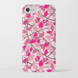Ginkgo Leaves in Vibrant Hot Pink Tones iPhone Case