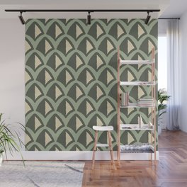 Classic Hollywood Regency Pyramid Pattern 222 Green Beige Wall Mural