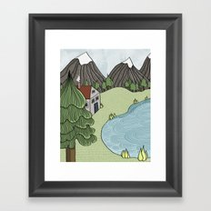 Cabin in the Mountains Framed Art Print