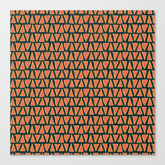 Desert Triangles - Geometric Orange and Blue Pattern Canvas Print