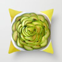 avocado Throw Pillows featuring Avocado by Hector Wong