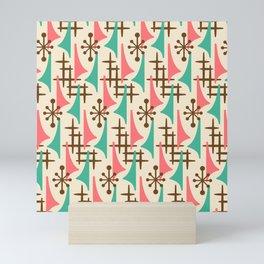 Retro Mid Century Modern Atomic Wing Pattern 425 Brown Pink and Green Mini Art Print