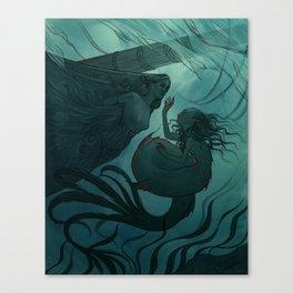 The day a mermaid found a shipwreck Canvas Print