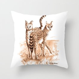 Sisters (Servals) Throw Pillow