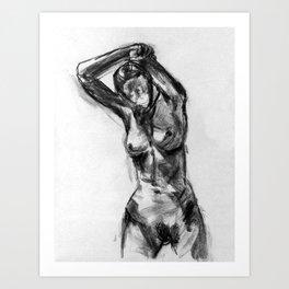 Nude Gesture Drawing Art Print