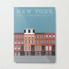 New York City, NYC, West Village Travel Poster Metal Print