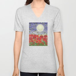 moonlit poppies, fireflies, and snails Unisex V-Neck