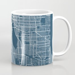 Portland Blueprint Street Map, Portland Colour Map Prints Coffee Mug