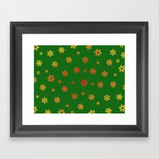 Snowflakes (Red & Gold on Green) Framed Art Print