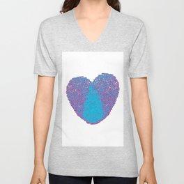 Pop art heart, Turquoise heart, Blue love art, Blue Heart print, Blue Heart graphic, Large heart Unisex V-Neck