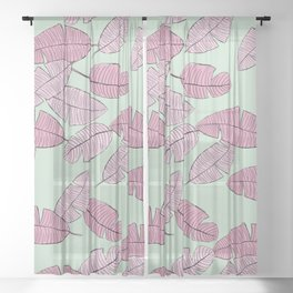 Palm leave boho summer pop ibiza party mint pink Sheer Curtain