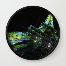 Eiffel Tower at Night with Coloured Lights Wall Clock