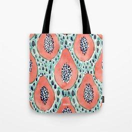 PAPAYA PARTY Tropical Fruit Print Tote Bag