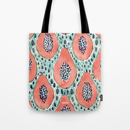 PAPAYA PARTY Tropical Fruit Print Tote Bag