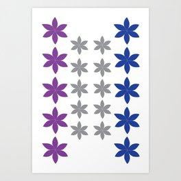 Cool Colors Flower Art Art Print