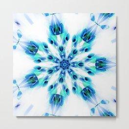 Blue Fire Snowflake Metal Print