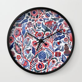 Botanical in red and blue Wall Clock