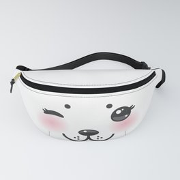 Kawaii funny albino animal white muzzle with pink cheeks and winking eyes Fanny Pack